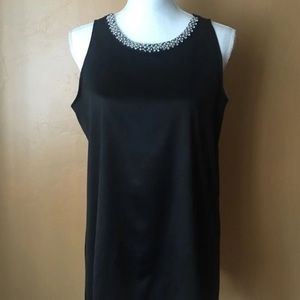 Alfani Sleeveless Black Satin Bi-Level Blouse (M)